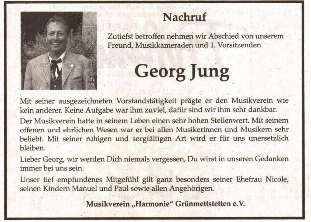 Nachruf Georg Jung